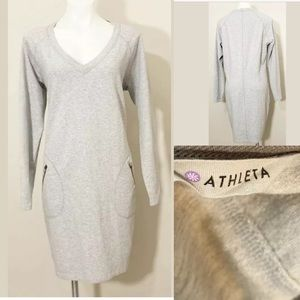 ATHLETA Size L Heather Gray Sweatshirt Cozy Dress